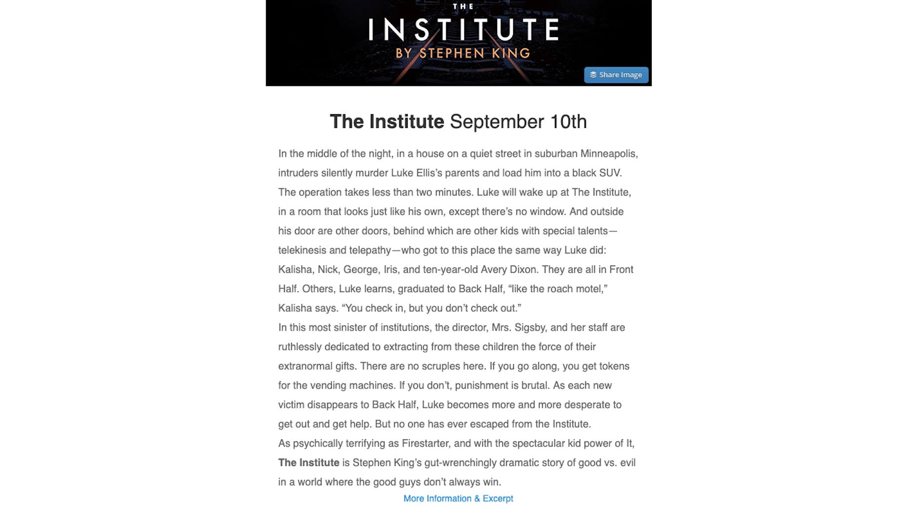 Stephen King Newsletter