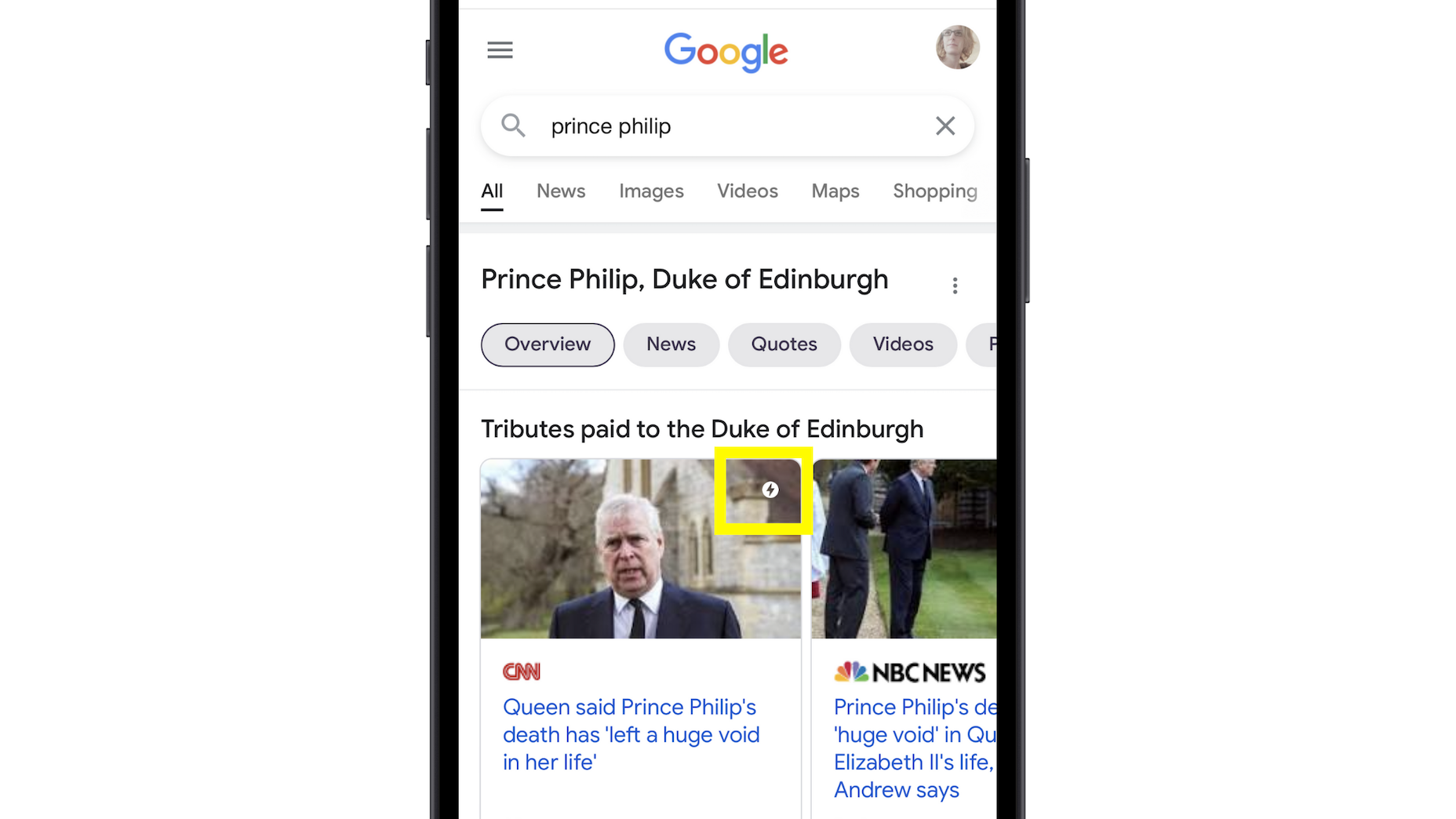 Google Top Stories On An Iphone With A Search For Prince Philip
